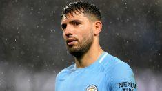 El Kun Agüero durante un partido con el Manchester City. (Getty)