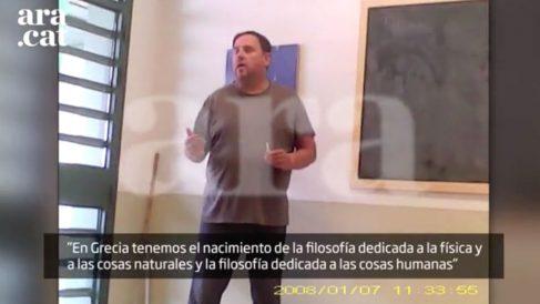 Una de las imágenes del vídeo grabado con cámara oculta en el que aparecen Junqueras, Romeva y Forn en Estremera