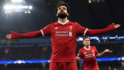 Mohamed Salah celebra un gol. (Getty)