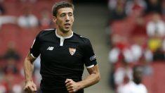 Lenglet, en un partido del Sevilla. (AFP)