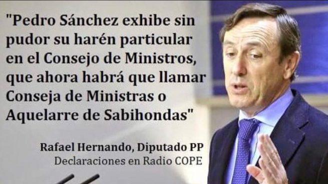Podemos la lía en la red con un tuit fake de Hernando: «Sánchez exhibe sin pudor su harén particular»