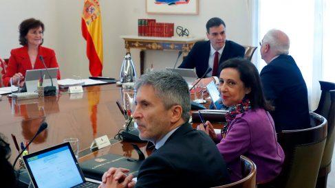 Fernando Grande-Marlaska en un Consejo de Ministros con Pedro Sánchez al fondo