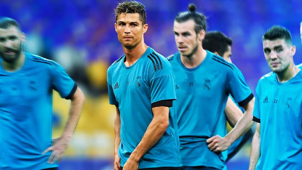 Cristiano Ronaldo, en un entrenamiento del Real Madrid.