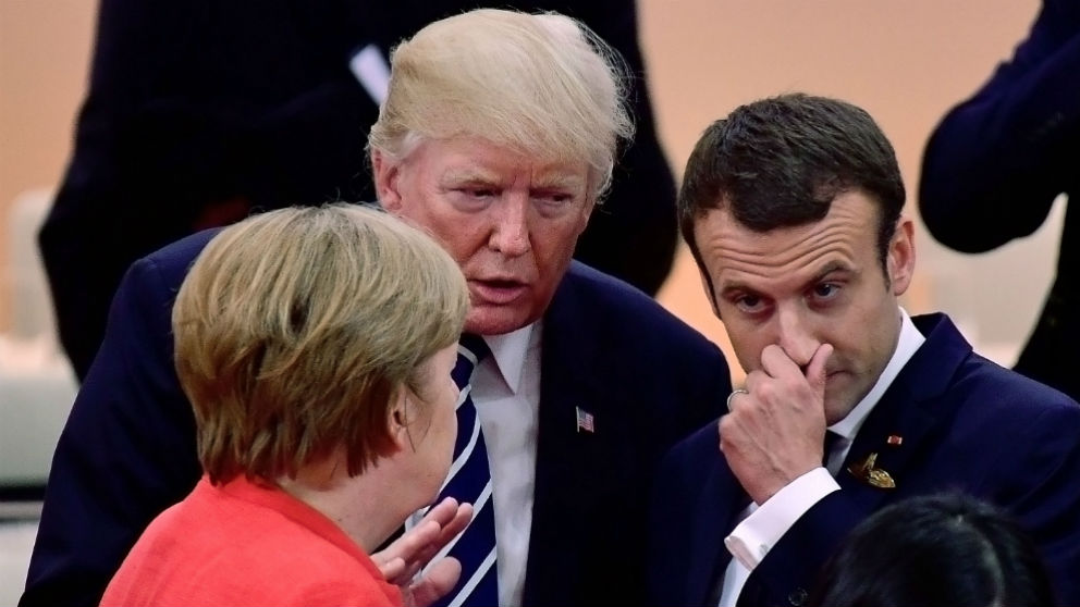Angela Merkel, Donald Trump y Emmanuel Macron (Foto: GETTY).