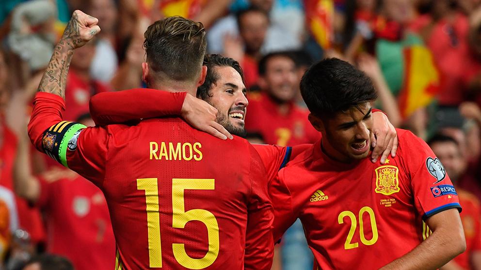 Ramos, Isco y Asensio celebran un gol. (Getty)