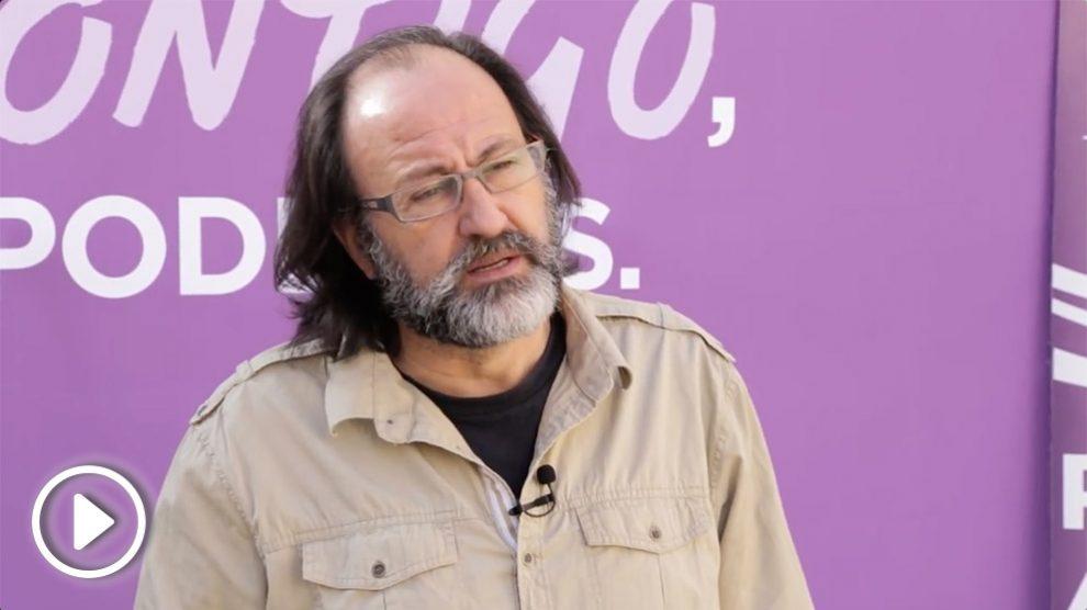 El ecologista Luis Miguel Domínguez pide el voto para Podemos.