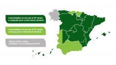 Reparto de las regionales del PP en los apoyos para la Secretaría General: Soraya o Cospedal.
