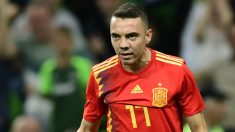 Aspas, celebrando su gol ante Túnez (AFP).