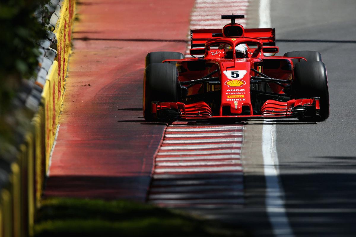 Sebastian Vettel con el Ferrari en Canadá