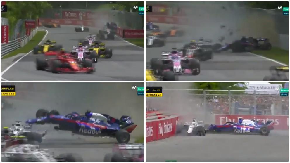 Así ha sido el espectacular accidente en el GP de Canadá de Fórmula 1. (MovistarF1)