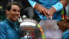 Nadal lució los colores de España en su reloj y su raqueta en la final de Roland Garros.