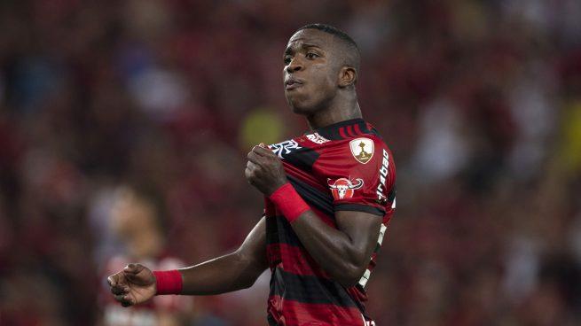 Vinicius Junior celebra un gol con el Flamengo (AFP).