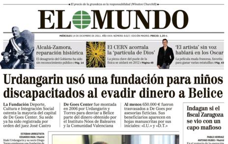 Portada de 'El Mundo' del 14 de diciembre de 2011.