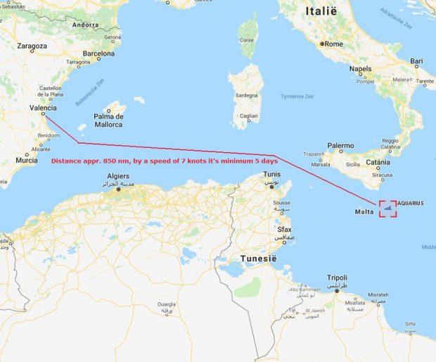 El barco 'Aquarius' se encuentra a 27 millas de Malta y a 35 de Italia.