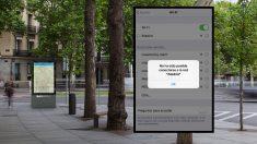Punto WiFi del Ayuntamiento y captura al intentar conectarse. (Foto. Madrid)