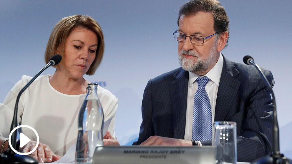 Mariano Rajoy, con María Dolores de Cospedal, este lunes.