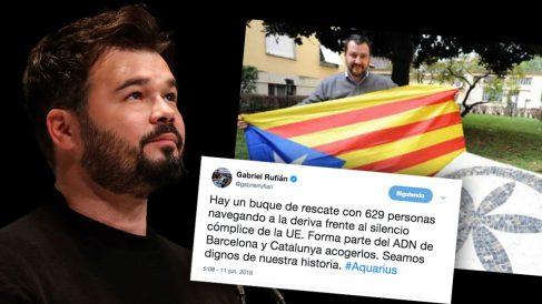 Las redes recuerdan a Rufián que el culpable de la deriva del 'Aquarius' es el ministro xenófobo que apoyó el independentismo