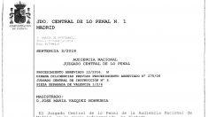 Inicio de la sentencia de la Audiencia Nacional sobre el caso Gürtel en su rama valenciana.