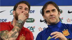 Sergio Ramos y Lopetegui durante una rueda de prensa. (AFP)