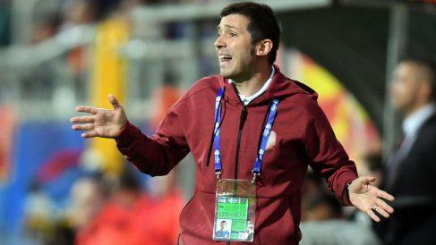 Albert Celades, en un partido de la selección española sub-21. (AFP)