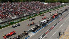 La parrilla de salida en una carrera de Fórmula 1.