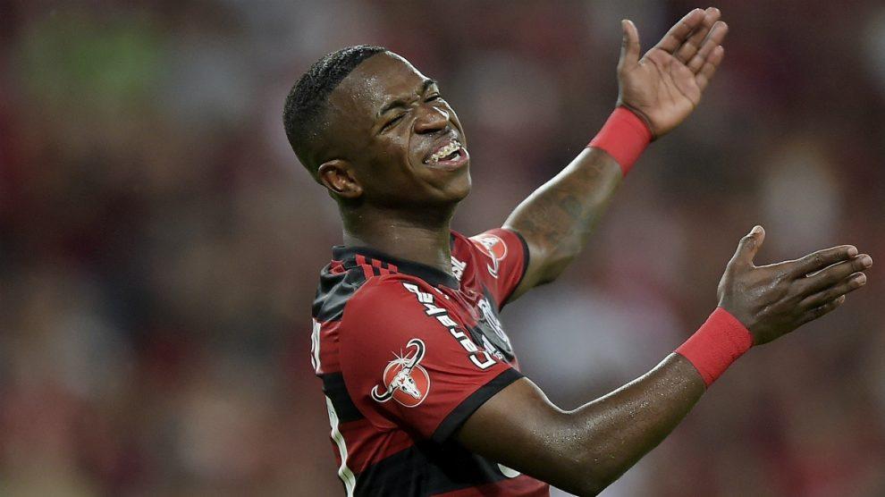 Vinicius, durante su último partido en Maracaná. (Getty Images)
