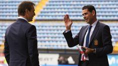 Hierro y Lopetegui dialogan antes de un partido de España. (Getty) | Mundial 2018 Rusia