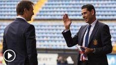 Hierro y Lopetegui dialogan antes de un partido de España. (Getty)