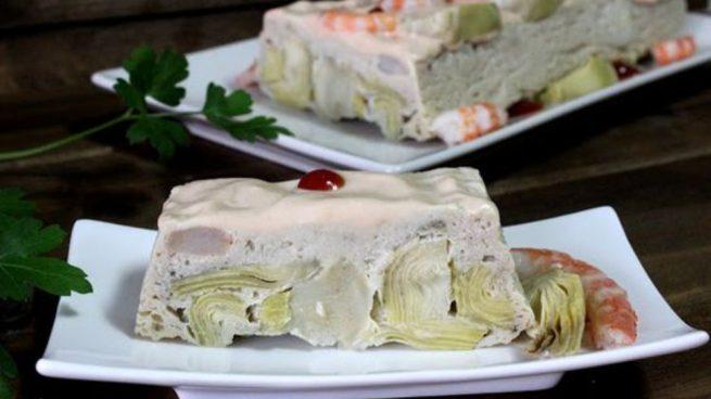 pastel de alcachofas y langostinos