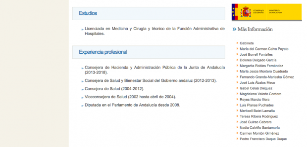 Currículum de la ministra María Jesús Montero en la web de La Moncloa.