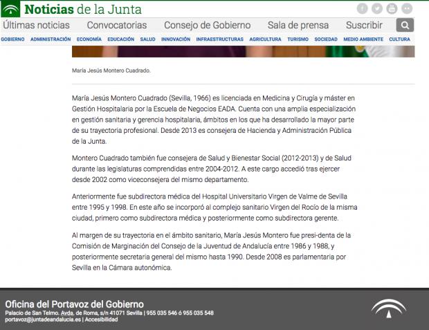 Biografía de María Jesús Montero en su etapa en la Junta de Andalucía.