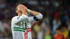 Cristiano Ronaldo se lamenta tras fallar una ocasión contra España en la Eurocopa de 2012.