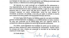 La carta de despedida de Dimas Gimeno a los empleados de El Corte Inglés