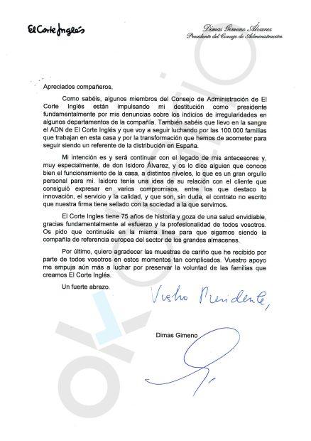 El consejo de El Corte Inglés cesa a Dimas Gimeno como presidente del grupo