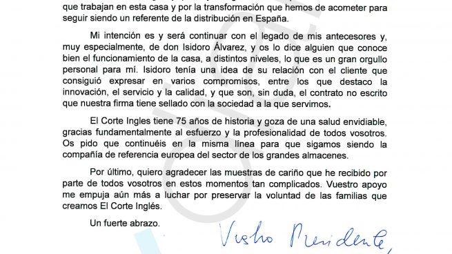 """La carta de Gimeno a los empleados de El Corte Inglés: """"me despiden por mis denuncias"""""""