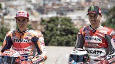 Marc Márquez y Jorge Lorenzo formarán la temporada que viene la pareja de pilotos más fuerte que se recuerda en la historia del motociclismo. (Getty)