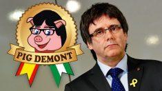 Carles Puigdemont y el logo de la empresa 'Pig Demont'.