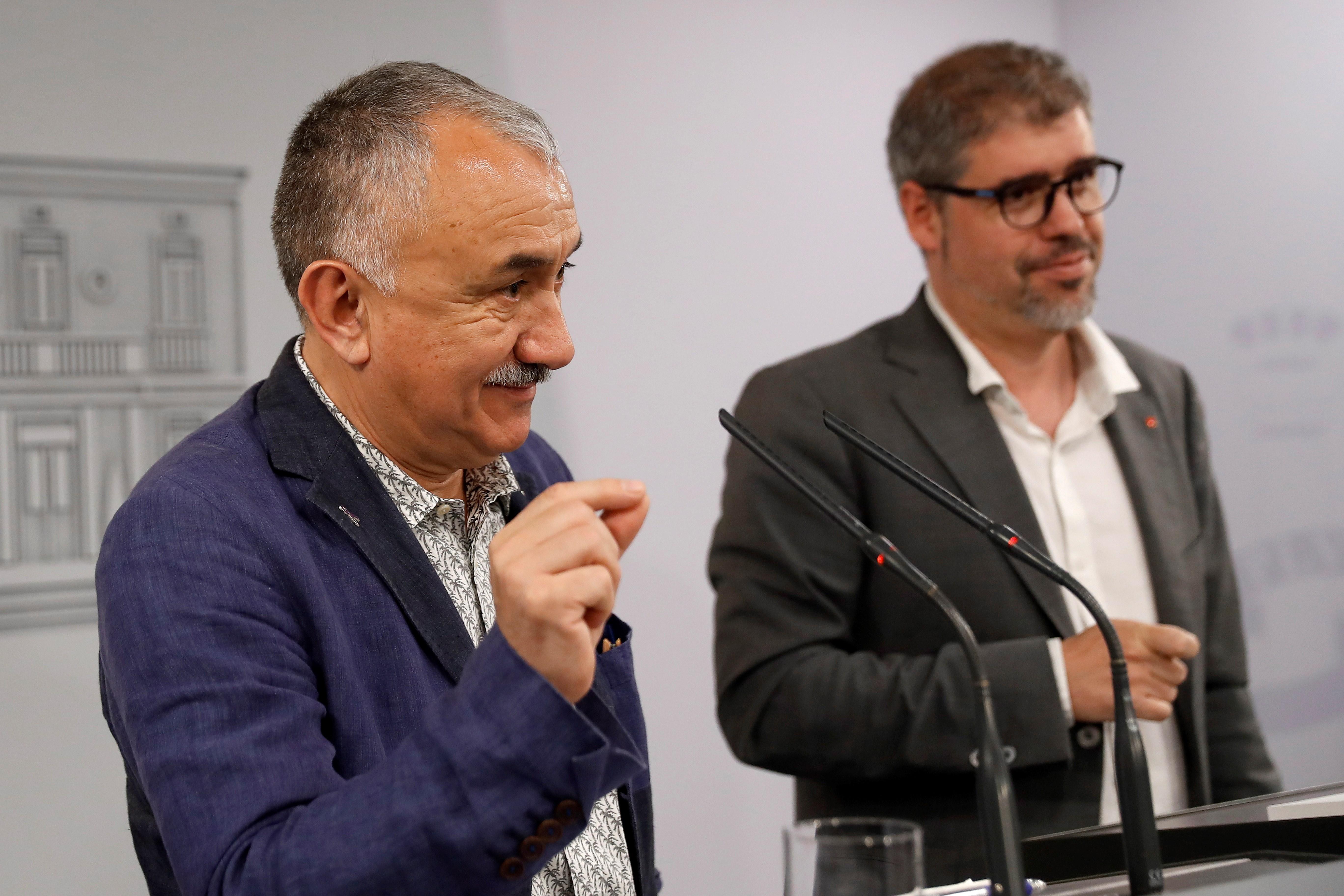 Pepe Álvarez, UGT, y Unai Sordo, de CCOO.