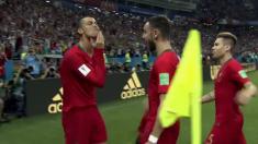 El extraño gesto de Cristiano Ronaldo después de marcar de penalti frente a España.