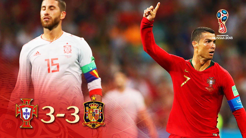 Cristiano Ronaldo logró el 3-3 en el Portugal-España en el minuto 88.