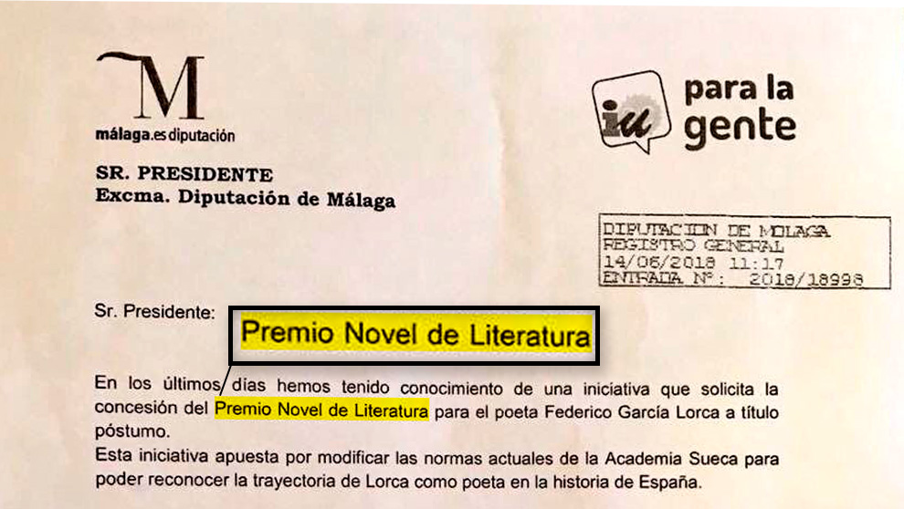 Petición formal de IU para pedir el «Premio Novel de Literatura» para Federico García Lorca