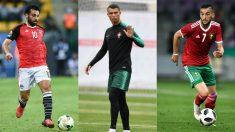 Salah, Cristiano Ronaldo y Ziyech, jugadores a seguir en la segunda jornada del Mundial 2018. (AFP)