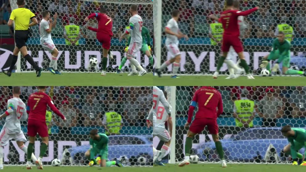 El fallo garrafal de David de Gea en el segundo gol de Cristiano Ronaldo.
