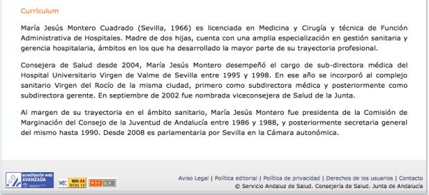Currículum de Montero en la web del SAS en 2012 sin el falso máster.