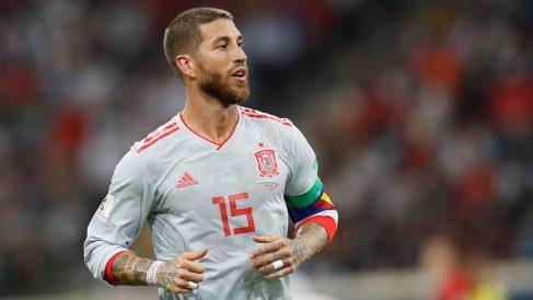 Sergio Ramos durante el España-Portugal. (Getty)