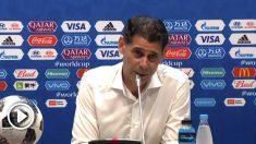 Fernando Hierro, en la rueda de prensa tras el partido España-Portugal.