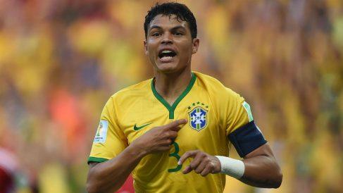 Thiago Silva, durante un partido con la selección de Brasil. (AFP)