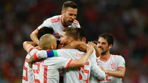 Los jugadores de la Selección celebran un gol de Diego Costa | Mundial 2018