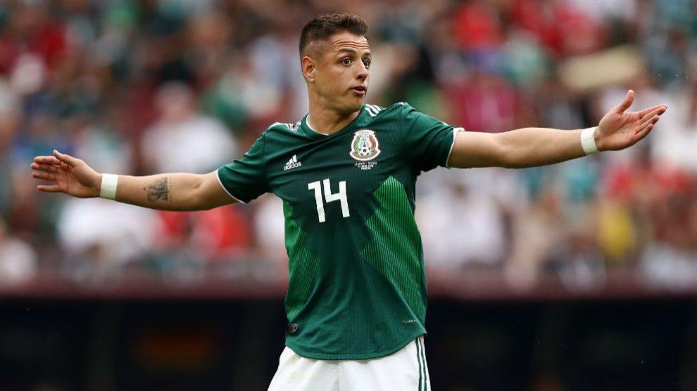 Chicharito, durante el partido ante Alemania. (Getty)