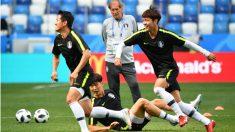 Los jugadores de Corea del Sur, en un entrenamiento anterior a su debut en el Mundial. (AFP)